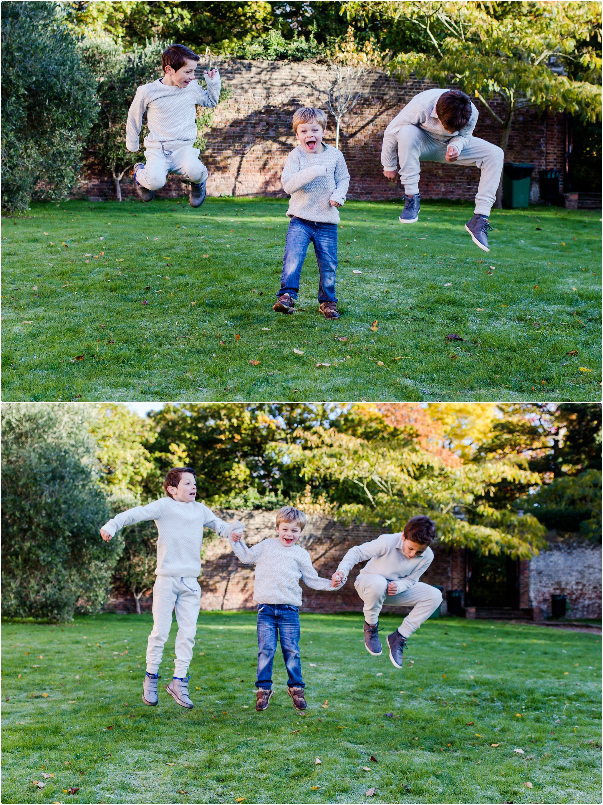 Boys jumping - family photography
