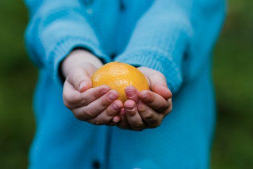 child holding orange